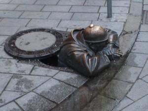 Man in Manhole - Bratislava