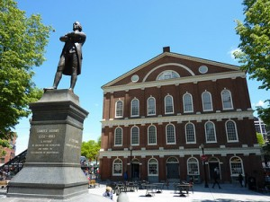 Samuel Adams in front of Faneuil Hall, Boston – USA