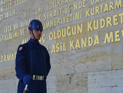 Guard at Ataturk's memorial tomb, Ankara – Turkey