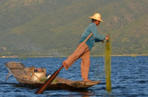 Leg rowing fisherman of Inle Lake