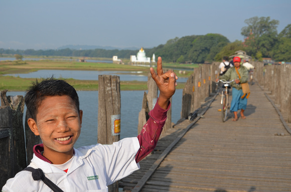 Boy on U Bein Bridge, Amarapura – Myanmar