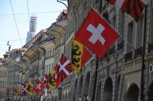 Swiss flags on Spitalgasse, Bern – Switzerland