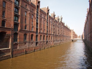 The Speicherstadt, the watery warehouse district in Hamburg