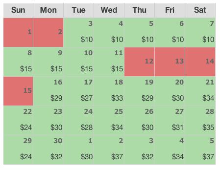 AirBnB Booking Calendar