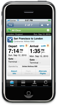 TripIt iPhone Flight Itinerary
