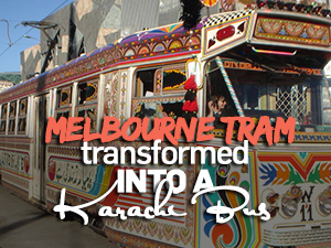 Melbourne tram decorated as a Karachi bus