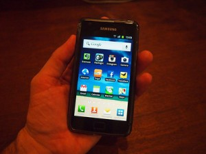 Samsung Galaxy SII in hand