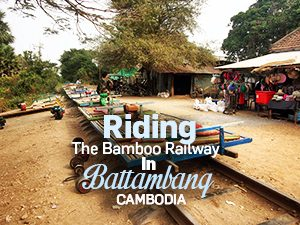Riding the bamboo railway in Battambang, Cambodia