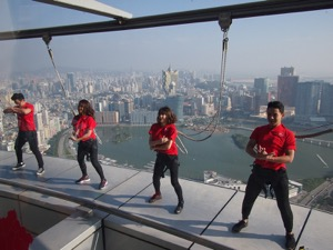 Crazy Jump Macau Tower: Bungy jumpers in costume at the highest commercial skyjump in the world